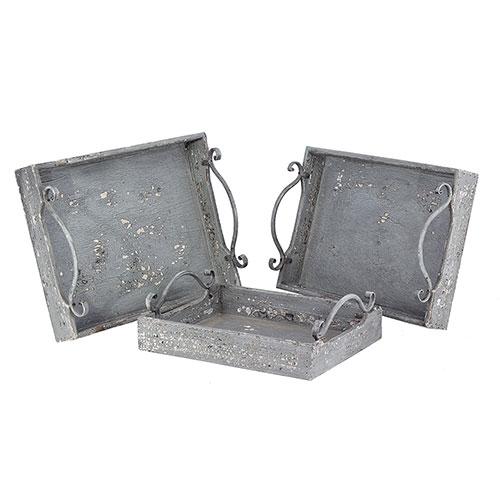 Conjunto de Bandejas Madeira Envelhecida Oldway - 3 Peças - Madeira - 41x31 cm