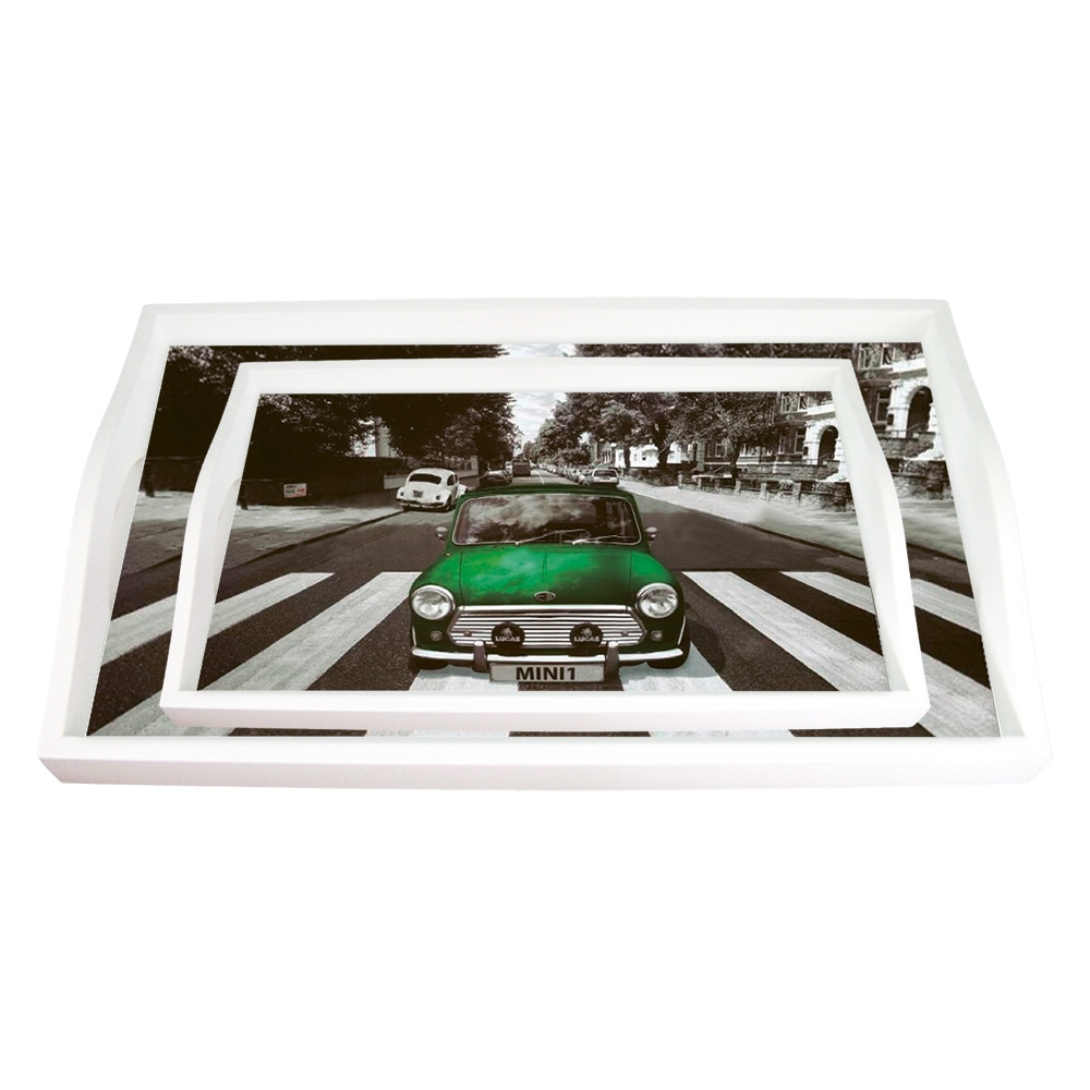 Conjunto de Bandejas Mini Cooper Verde - 2 Peças - em MDF - 38x24 cm