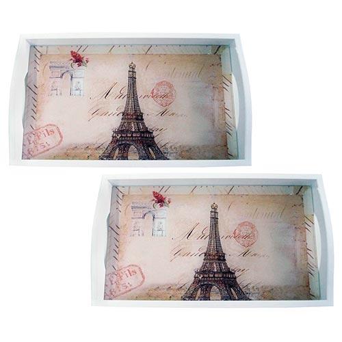 Conjunto de Bandejas Monumentos Paris em MDF e Fundo de Vidro - 2 peças - 38x24 cm