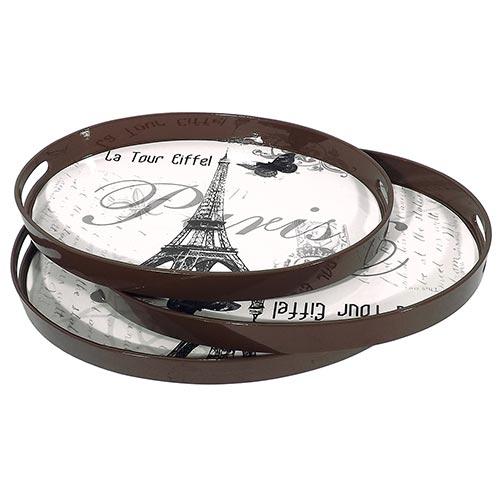 Conjunto de Bandejas Oval Paris Fullway 3 Peças - Madeira - 45x31 cm