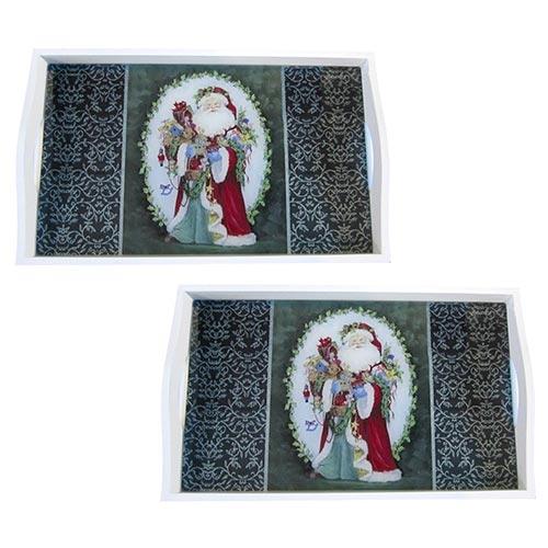 Conjunto de Bandejas Papai Noel e Brinquedos em MDF e Fundo de Vidro - 2 peças - 38x24 cm