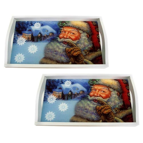 Conjunto de Bandejas Papai Noel em MDF e Fundo de Vidro - 2 peças - 38x24 cm