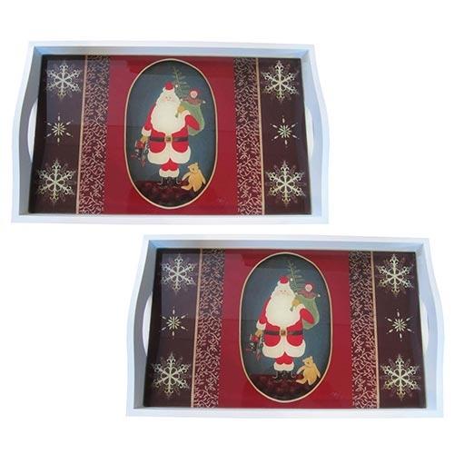 Conjunto de Bandejas Papai Noel e Presentes em MDF e Fundo de Vidro - 2 peças - 38x24 cm