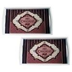 Conjunto de Bandejas Paris Chocolat em MDF e Fundo de Vidro - 2 peças - 38x24 cm