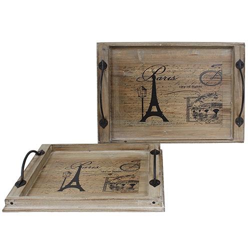 Conjunto de Bandejas Paris Oldway - 2 Peças - Madeira e Metal- 54x36 cm