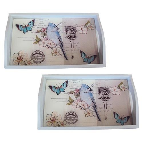 Conjunto de Bandejas Pássaro Azul em MDF e Fundo de Vidro - 2 peças - 38x24 cm