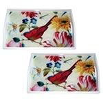 Conjunto de Bandejas Pássaro e Flores Coloridas em MDF e Fundo de Vidro - 2 peças - 38x24 cm