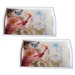 Conjunto de Bandejas Pássaro Vermelho em MDF e Fundo de Vidro - 2 peças - 38x24 cm