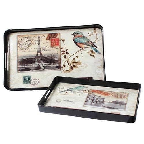 Conjunto de Bandejas Pássaros Paris/Veneza Fullway - 2 Peças - 49x30 cm
