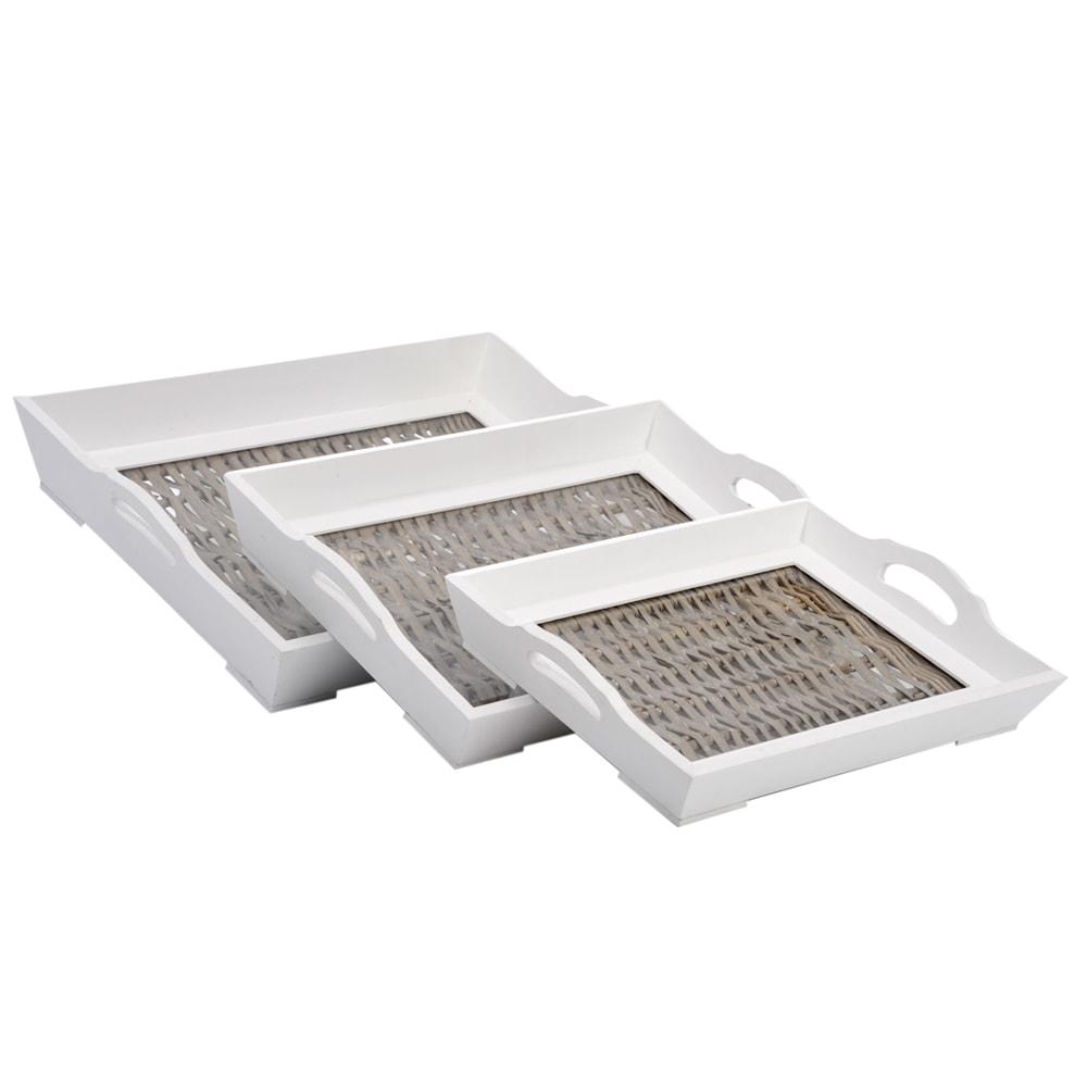 Conjunto de Bandejas Prince - 3 Peças - Brancas e Marrom em Madeira - 48x36 cm