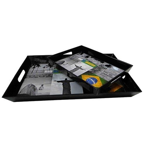 Conjunto de Bandejas Rio de Janeiro Fullway - 2 Peças - 45x31 cm