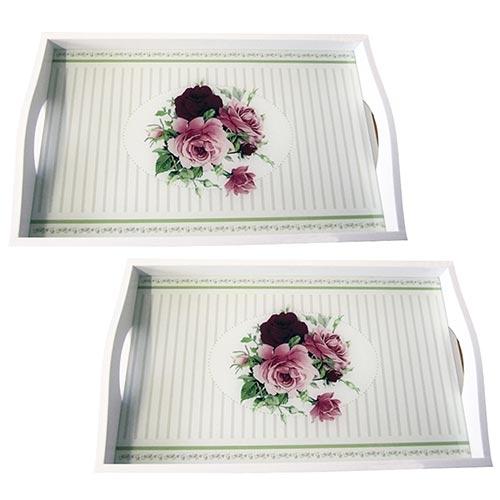 Conjunto de Bandejas Rosas em MDF e Fundo de Vidro - 2 peças - 38x24 cm