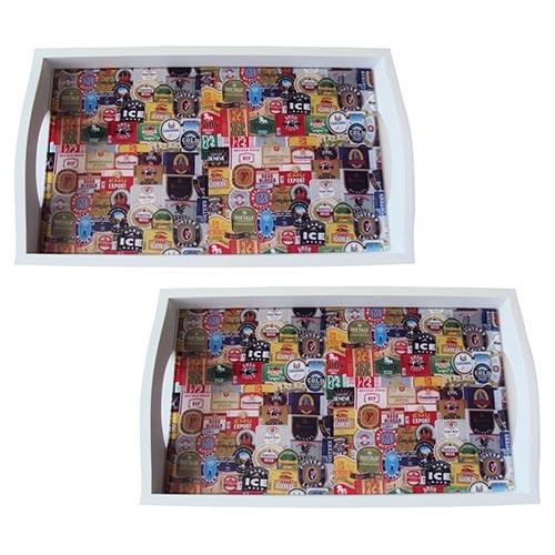 Conjunto de Bandejas Rótulos de Cerveja em MDF e Fundo de Vidro - 2 peças - 38x24 cm