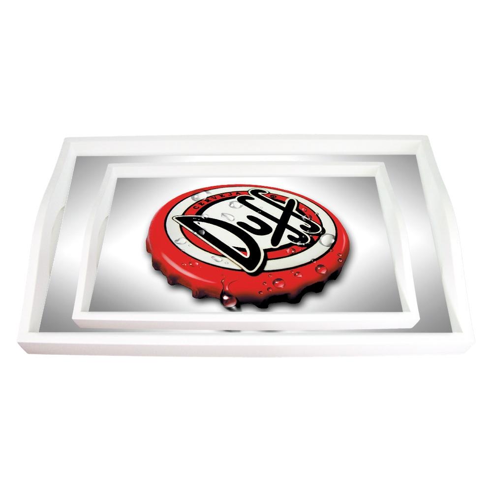 Conjunto de Bandejas Tampinha Duff Vermelhas - 2 Peças - em MDF - 38x24 cm