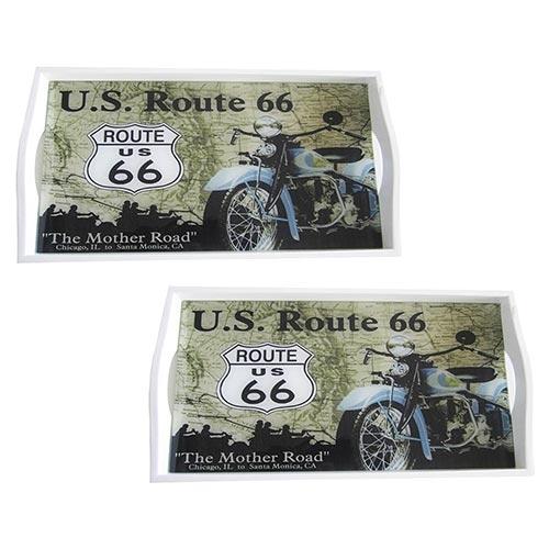 Conjunto de Bandejas US Route 66 em MDF e Fundo de Vidro - 2 peças - 38x24 cm