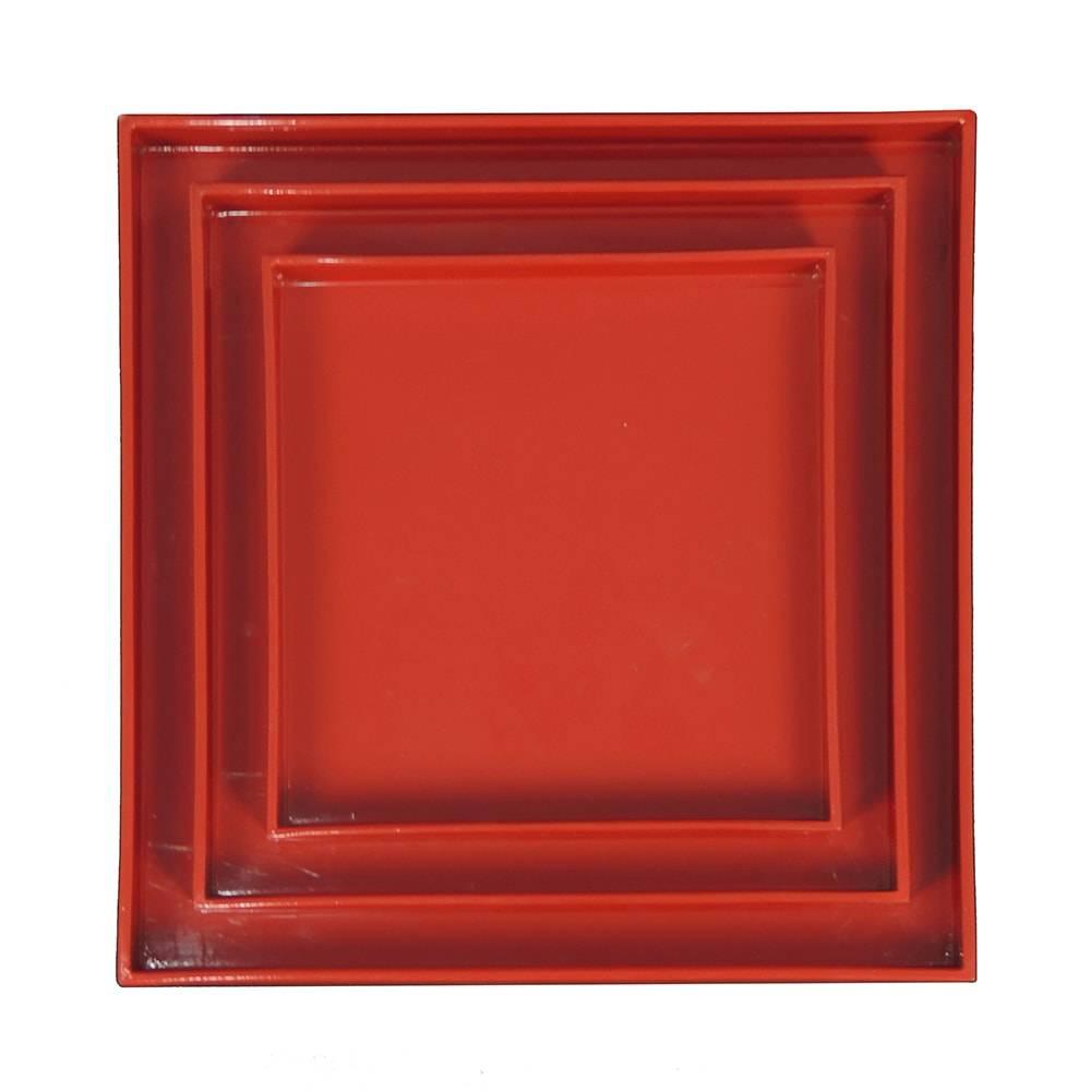 Conjunto de Bandejas Vermelhas - 3 Peças - em Laca - 30x30 cm