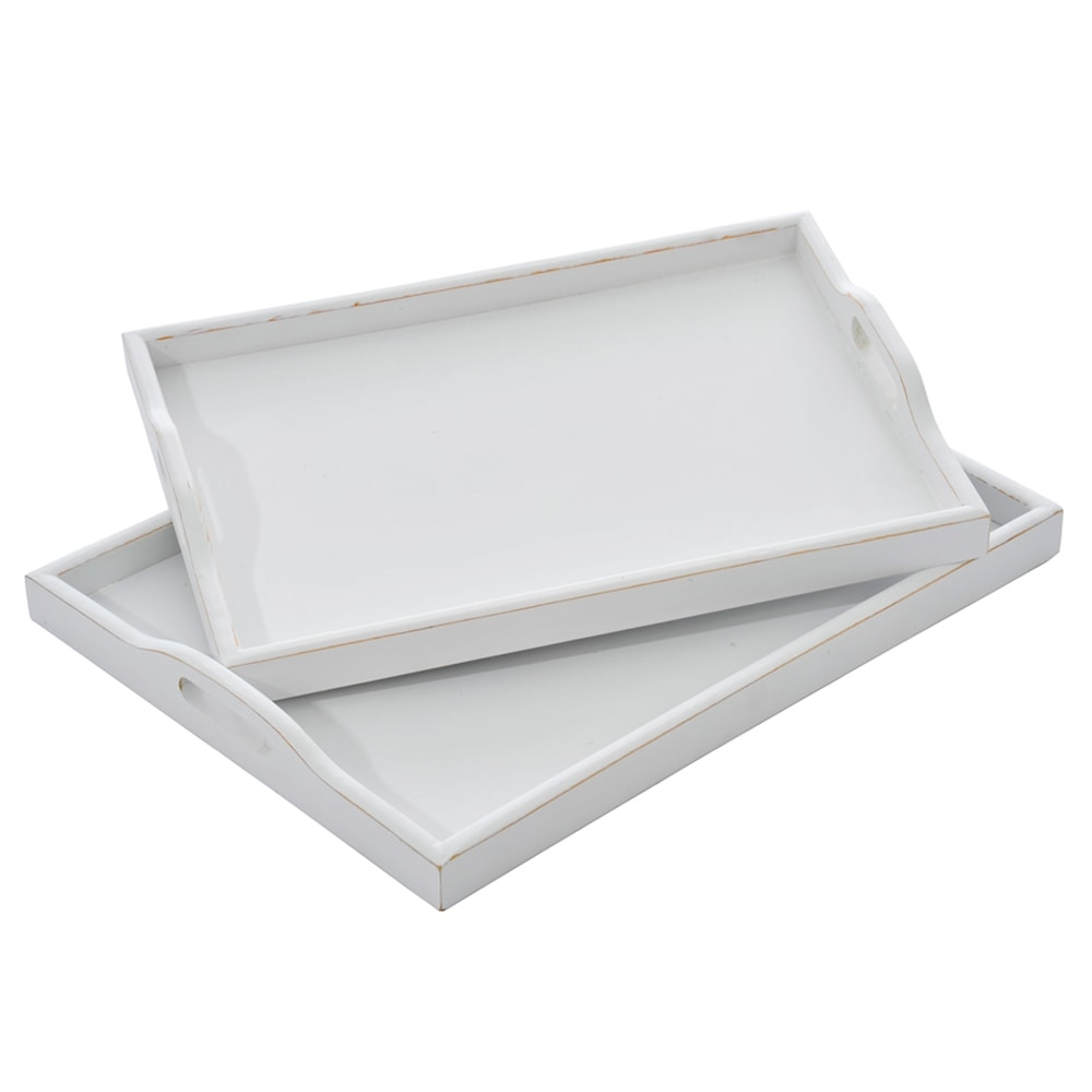 Conjunto de Bandejas Vita - 2 Peças - Brancas em Madeira - 41x31 cm