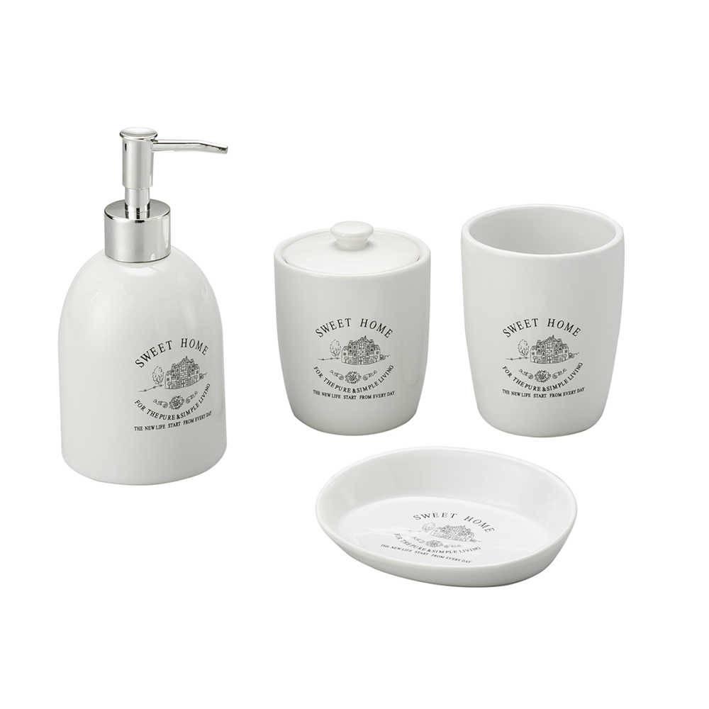 Conjunto para Banheiro Sweet Home com 4 Peças em Porcelana - Lyor Classic