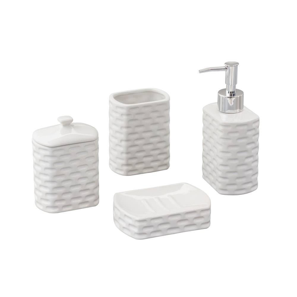 Conjunto para Banheiro Tiles com 4 Peças em Cerâmica - Lyor Design