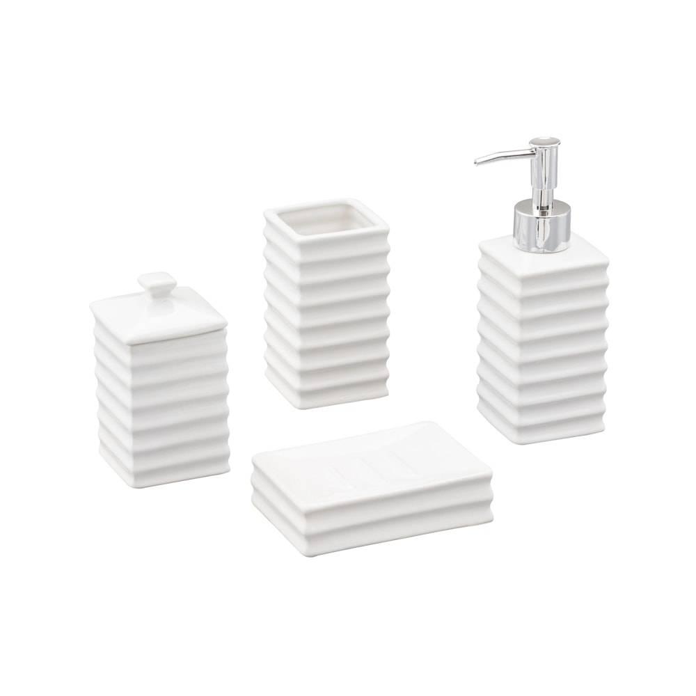 Conjunto para Banheiro Wave com 4 Peças em Cerâmica - Lyor Design