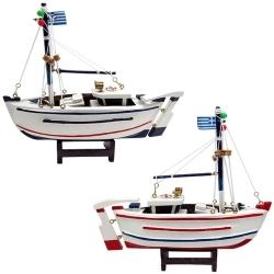 Conjunto de Barco de Pesca Grego Médio em Madeira