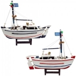 Conjunto de Barco de Pesca Grego Médio em Madeira - 20x17x5 cm