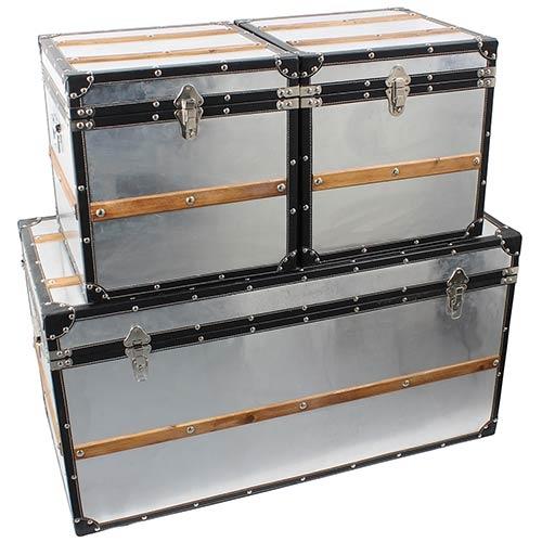 Conjunto Baú Alumínio Com Faixa de Madeira 3 peças Fullway - 51x98x47cm