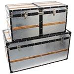 Conjunto Baú Alumínio Com Faixa de Madeira 3 peças Fullway
