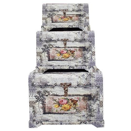 Conjunto de Baús 3 Peças Envelhecido Roses Oldway - 52x74cm
