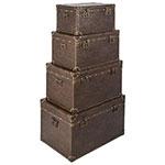 Conjunto de Baús 4 Peças Marrom Clássico Oldway - 45x67x40cm