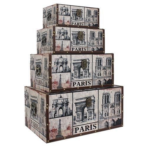 Conjunto de Baús 4 Peças Paris Envelhecido Oldway - 50x34cm