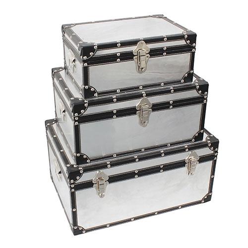 Conjunto de Baús Alumínio Plano Fullway - 3 Peças - Alumínio / Courino / Metal - 50x34 cm