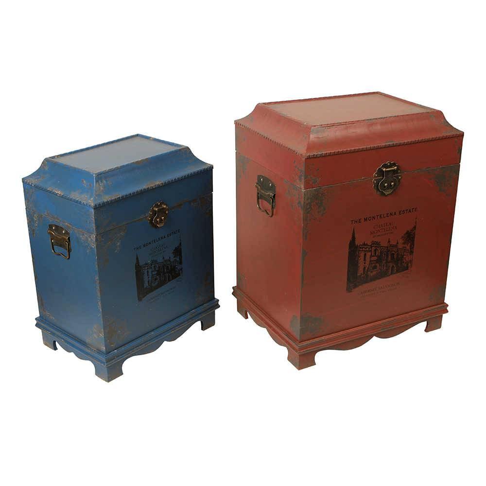 Conjunto de Baús Antique Azul e Vermelho - 2 Peças em Madeira - 58x43 cm