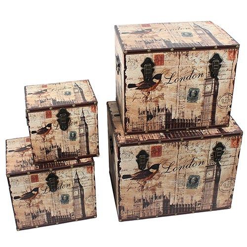 Conjunto de Baús Bird Big Ben Oldway - 4 Peças - 50x40 cm