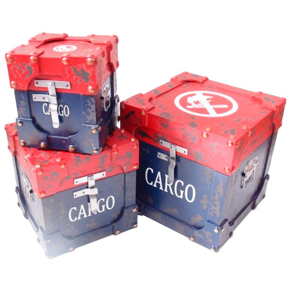 Conjunto Baús Cargo - 3 peças - Símbolo de Proibido Azul e Vermelho em MDF - 31x31 cm