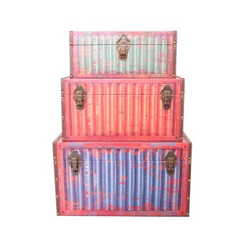 Conjunto de Baús Containers - 3 Peças em MDF - 50x38 cm
