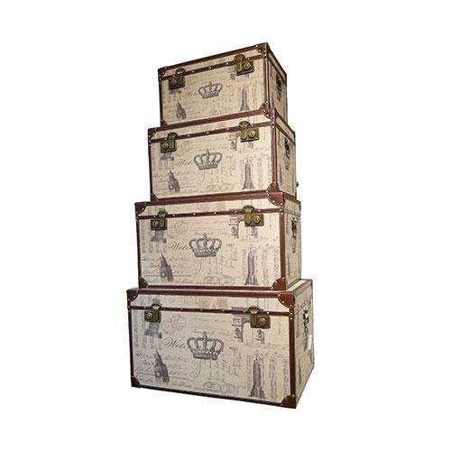 Conjunto de Baús Coroa Oldway - 4 Peças - Madeira / Metal / Linho - 68x45 cm