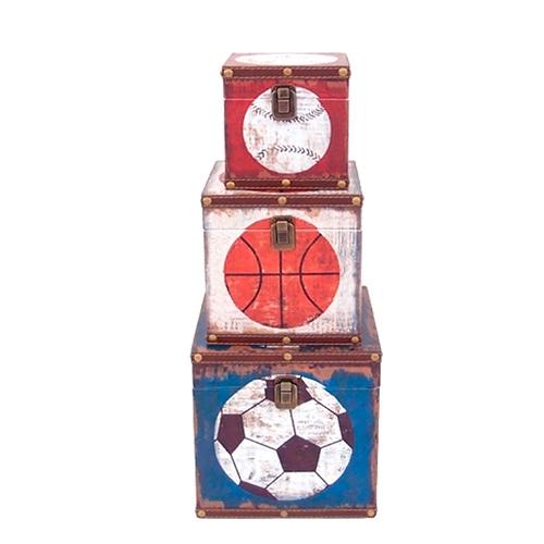 Conjunto de Baús Esportes - 3 Peças - em MDF - 22x22 cm