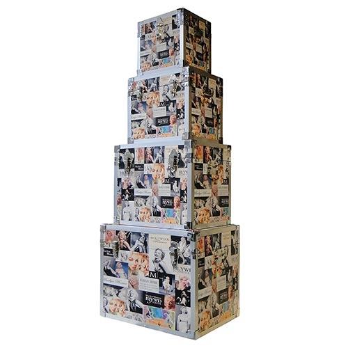 Conjunto de Baús Fotos Marilyn Fullway - 4 Peças - 50x40 cm