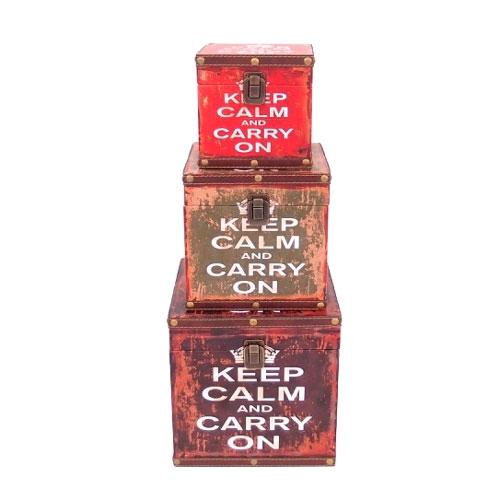 Conjunto de Baús Keep Calm - 3 Peças - 22x22 cm