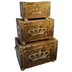 Conjunto Baús de Linho 3 Peças Coroa de Rainha Oldway - 51x76 cm