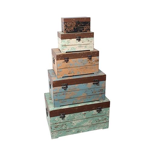 Conjunto de Baús Madeira Velha Coloridos Oldway -  5 Peças - Madeira / Metal - 60x38 cm