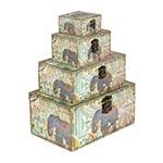 Conjunto Baús Médio Elefante da Índia 4 Peças Oldway - 35x23 cm