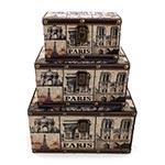 Conjunto de Baús Paris Envelhecidos Oldway - 3 Peças - 28x18 cm