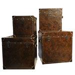 Conjunto de Baús Quadrados Marrom Oldway - 4 Peças - MDF /  Metal / Courino - 52x53 cm
