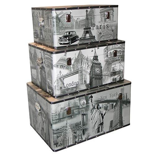 Conjunto de Baús Retangular 3 Peças Paris/ London/ New York Fullway - 45x66 cm