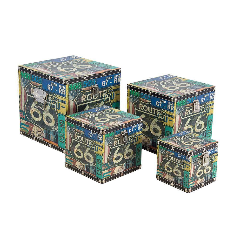 Conjunto de Baús Route 66 Placas - 4 Peças - Fullway - 24x24 cm