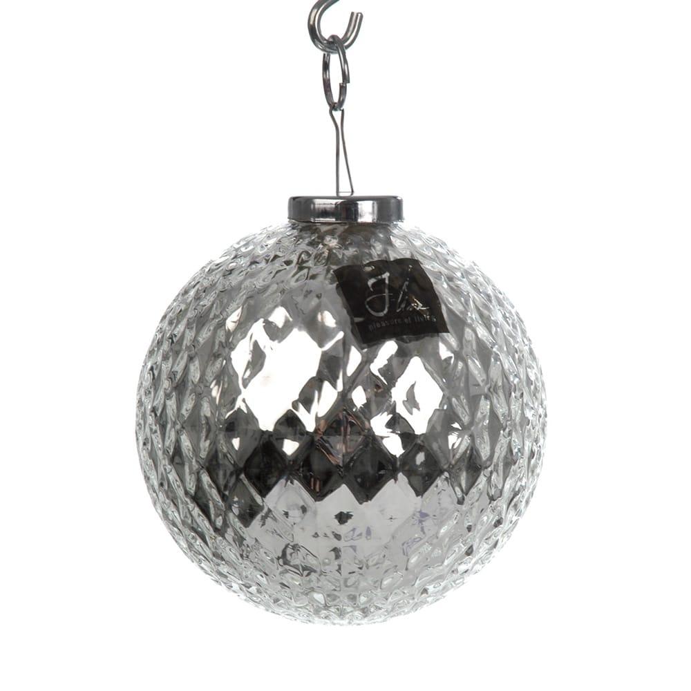 Conjunto de Bolas para Enfeite de Natal Prata - 2 Peças - em Vidro - 11 cm