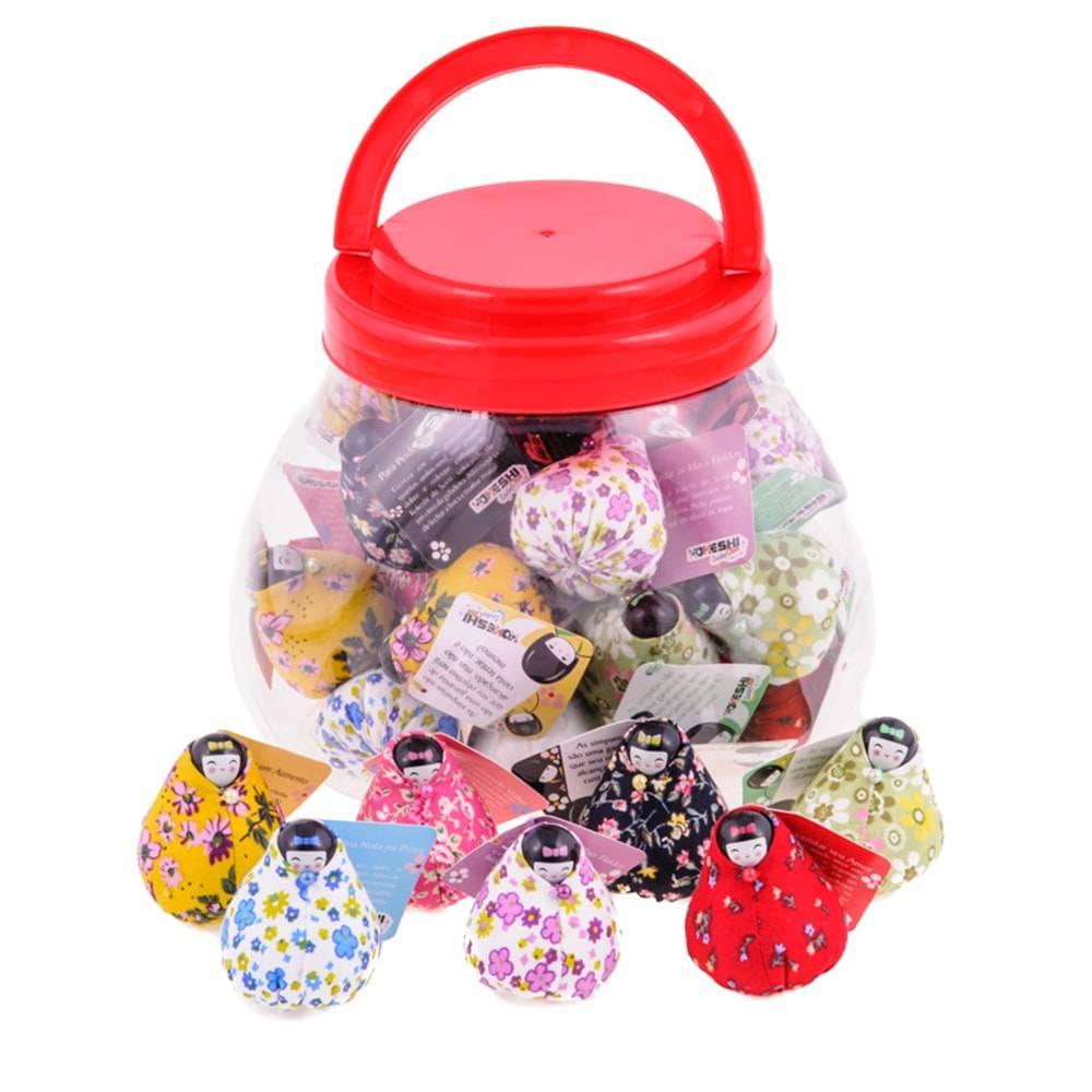 Conjunto Bonecas Decorativas Kokeshi Lucky Club - 32 Peças - Coloridas em Tecido - 19x16 cm
