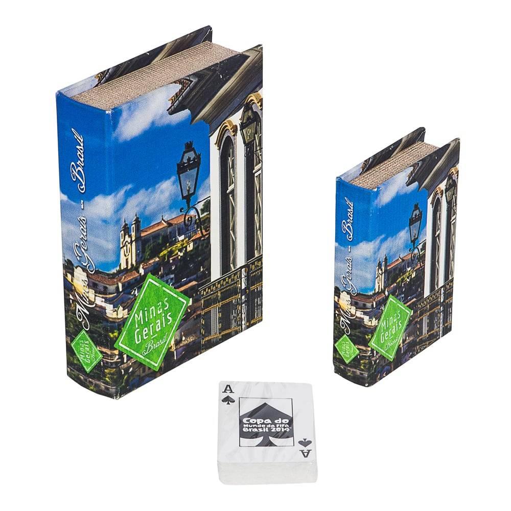 Conjunto Book Box 2 Peças Cartas Ouro Preto Fullway - 20x14 cm